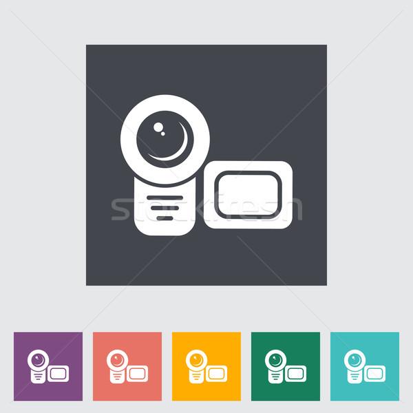 Video camera single flat icon. Stock photo © smoki