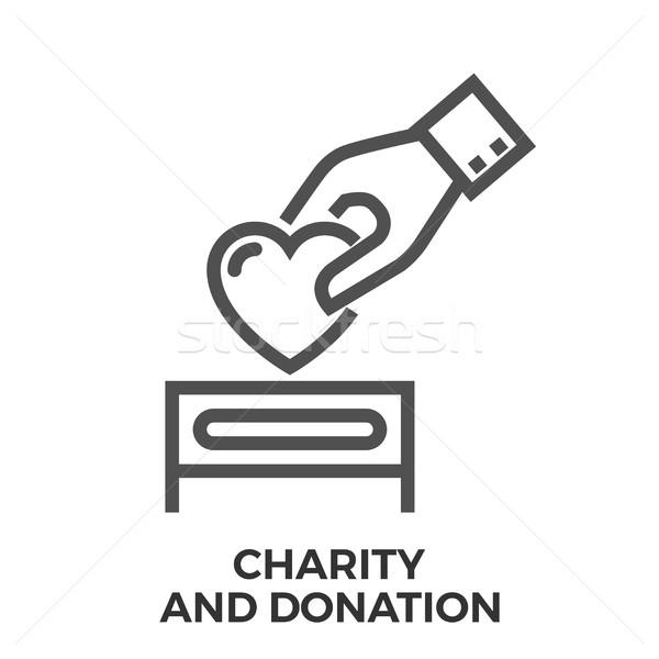 благотворительность пожертвование тонкий линия вектора икона Сток-фото © smoki