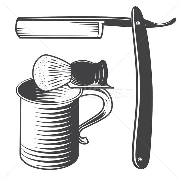 Shaving mug, brush and razor Stock photo © smoki