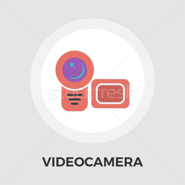 Videókamera ikon vektor izolált fehér szerkeszthető Stock fotó © smoki