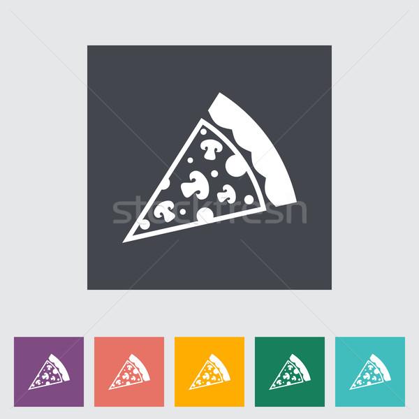 Pizza Ikon Restoran Peynir Boyama Grafik Vektör