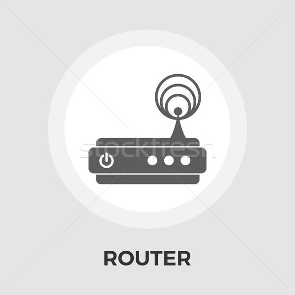 Router icon vector geïsoleerd witte Stockfoto © smoki