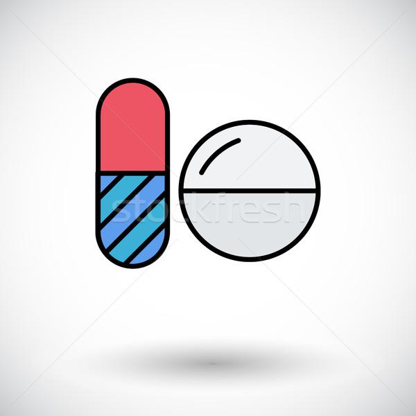 Fogamzásgátló tabletták ikon fehér háló mobil Stock fotó © smoki