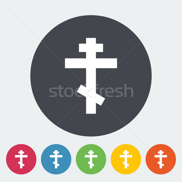 Cross single flat icon. Stock photo © smoki