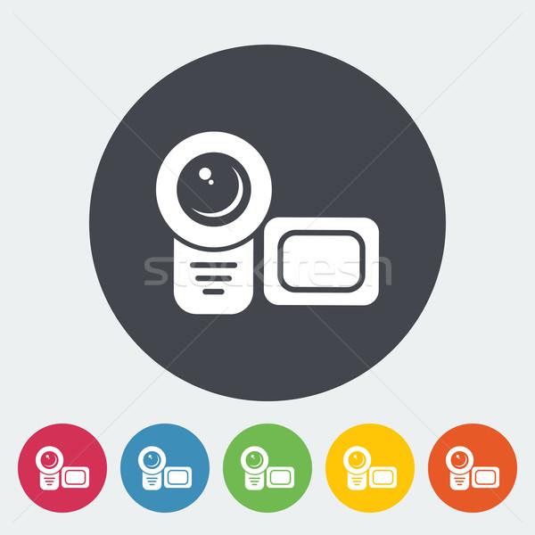 Videókamera ikon kör film terv háttér Stock fotó © smoki