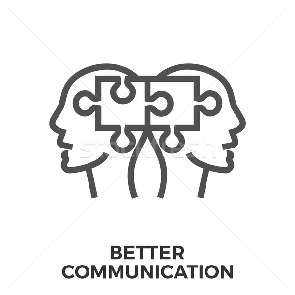 Jobb kommunikáció ikon vékony vonal vektor Stock fotó © smoki