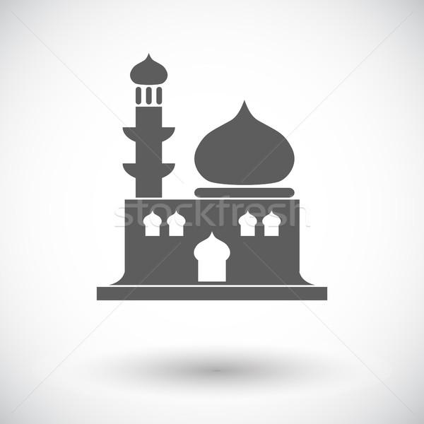Mecset ikon fehér épület építkezés sziluett Stock fotó © smoki