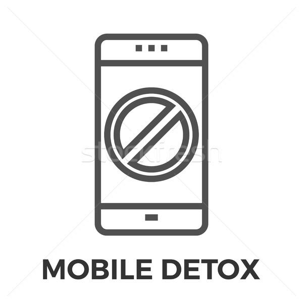 Stock photo: Mobile detox thin line vector icon