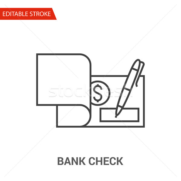 Bank Check Icon. Thin Line Vector Illustration Stock photo © smoki