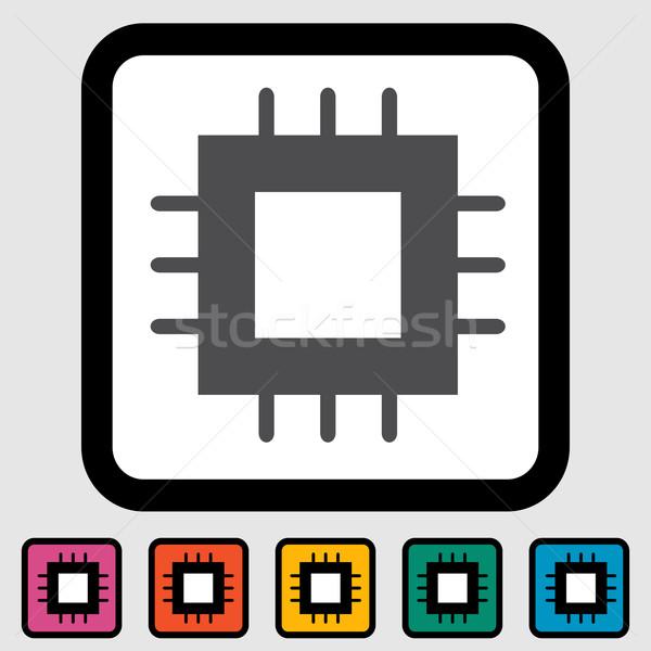 Electronic chip icon Stock photo © smoki