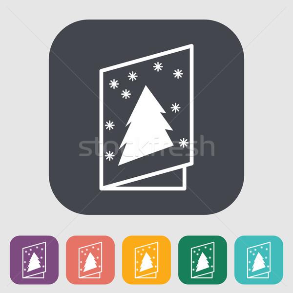 Christmas briefkaart icon knop papier achtergrond Stockfoto © smoki