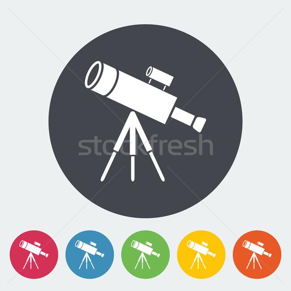 Telescopio icona pulsante tecnologia vetro segno Foto d'archivio © smoki