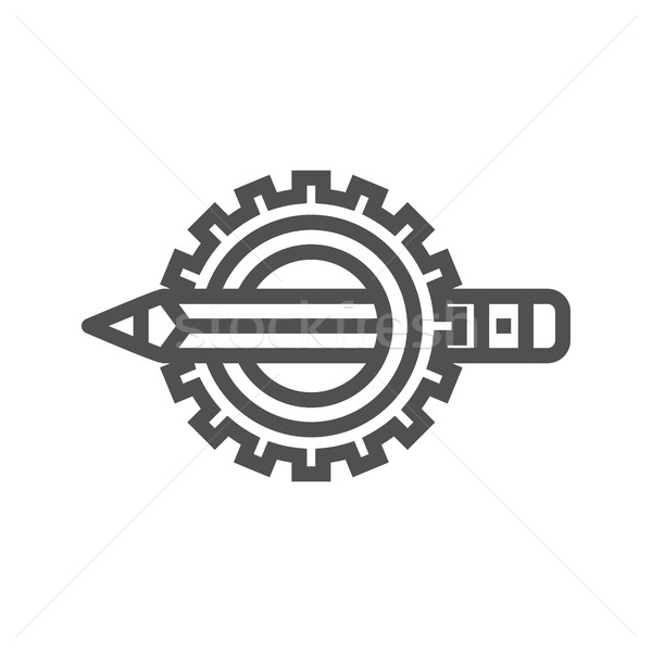 Pensil with gear line icon Stock photo © smoki