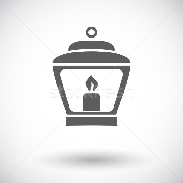 Vecchio lanterna icona bianco carta luce Foto d'archivio © smoki