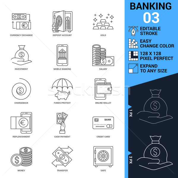 Banking icons set. Thin Line Vector Illustration Stock photo © smoki