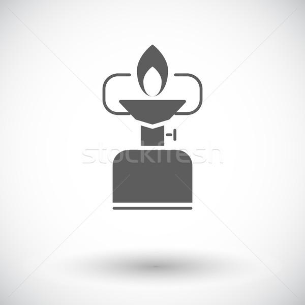 Camping kachel icon witte reizen schilderij Stockfoto © smoki