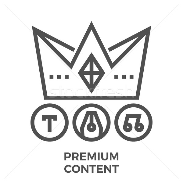 Premium content line icon Stock photo © smoki