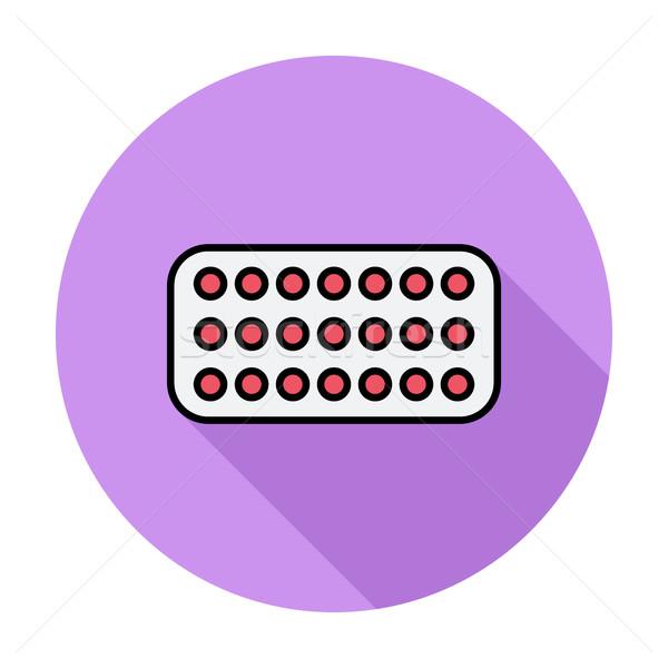 Fogamzásgátló tabletták szín ikon kör orvosi Stock fotó © smoki