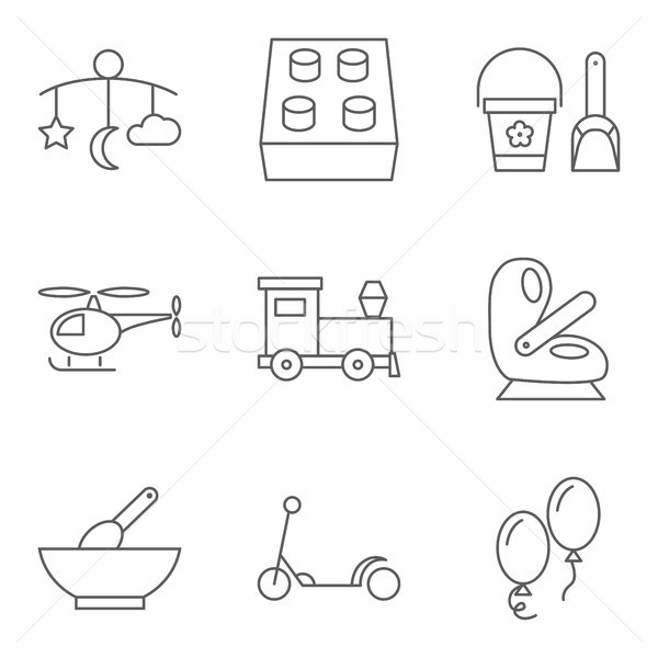 Baby thin line related vector icon set Stock photo © smoki