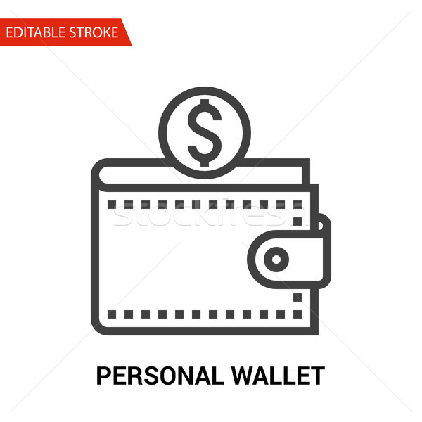 Personal Wallet Icon. Thin Line Vector Illustration Stock photo © smoki