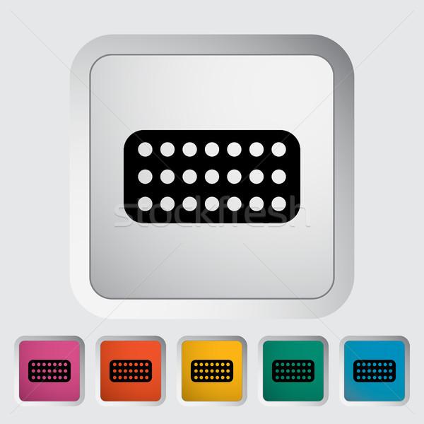 Fogamzásgátló tabletták ikon gomb orvosi terv Stock fotó © smoki