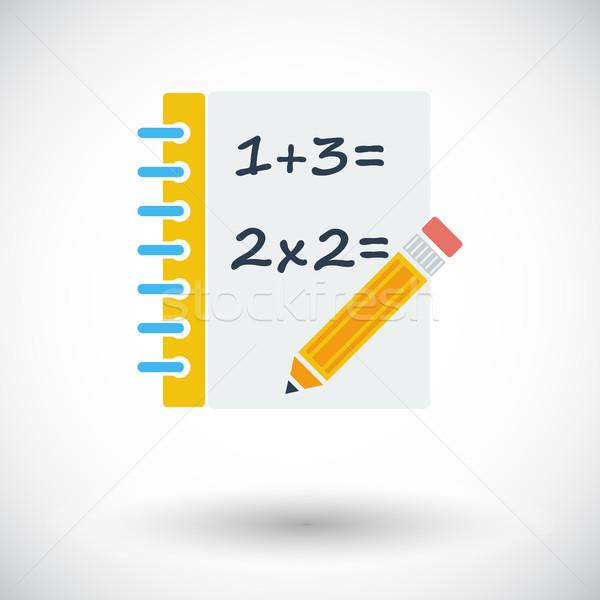 Mathématiques icône blanche stylo design étudiant Photo stock © smoki