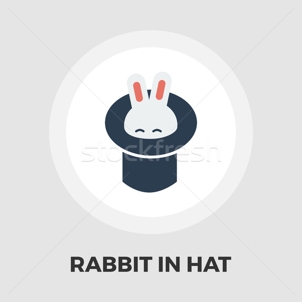 Nyúl bűvész kalap ikon vektor izolált Stock fotó © smoki