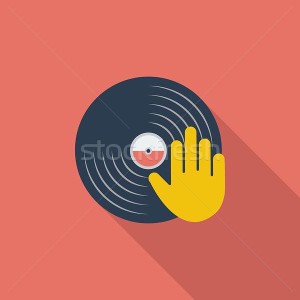Foto stock: Vinil · disco · mão · ícone · vetor · longo