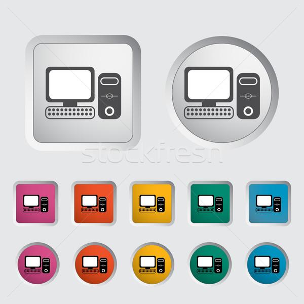 Számítógép ikon fekete sziluett eps számítógép felirat Stock fotó © smoki
