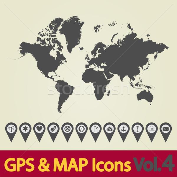 Mapa do mundo ícone mapa navegação ícones dinheiro Foto stock © smoki