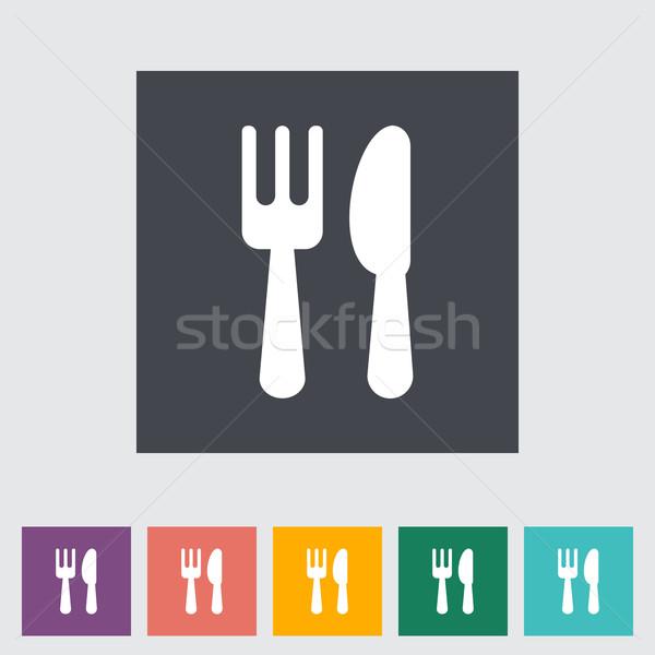 приборы икона продовольствие службе ножом силуэта Сток-фото © smoki