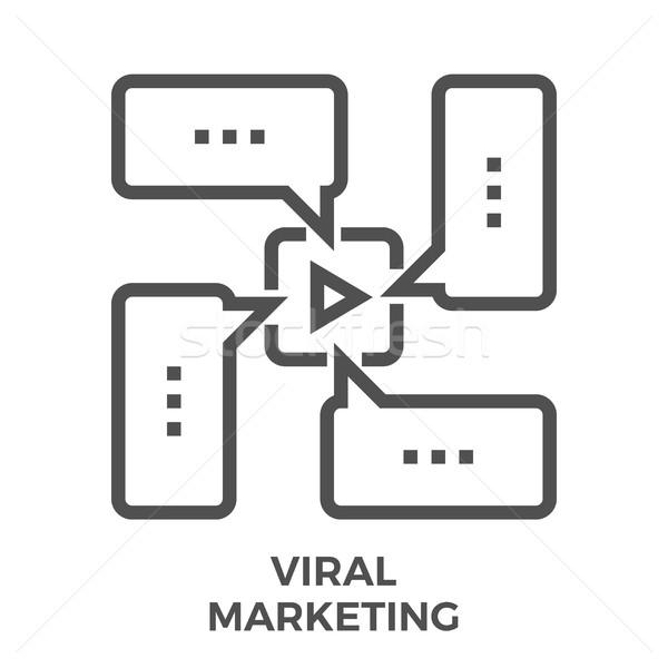 Viral marketing linha ícone fino vetor Foto stock © smoki