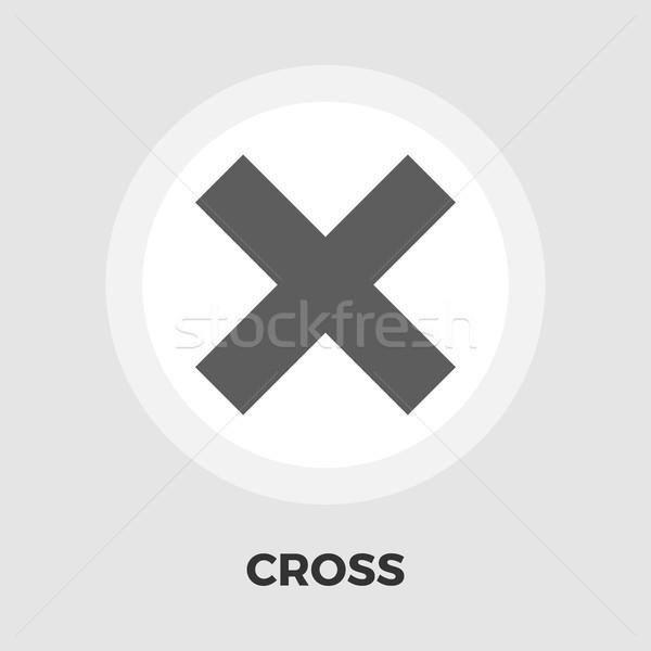 Cross flat icon Stock photo © smoki