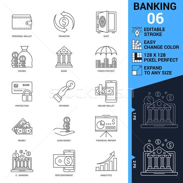 Banking icons set. Thin Line Vector Illustration Stock photo © smoki