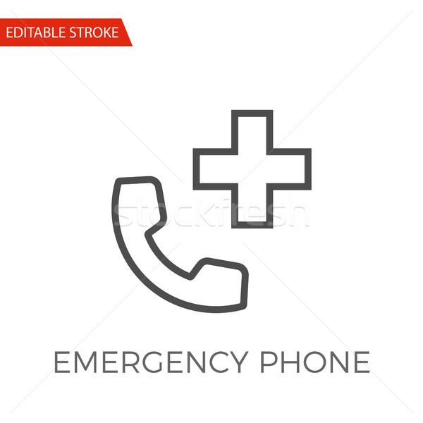 Awaryjne telefonu wektora ikona cienki line Zdjęcia stock © smoki