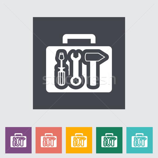 Szerszámosláda ikon munka felirat háló ipar Stock fotó © smoki