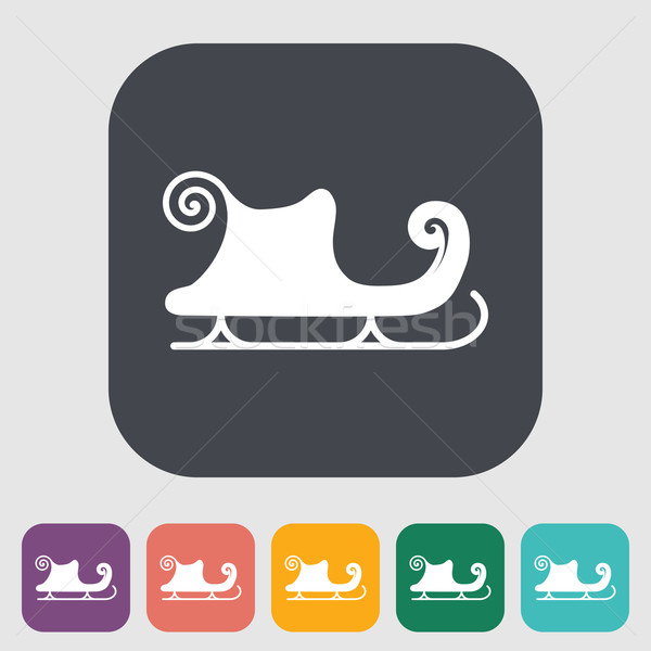 сани икона кнопки вечеринка зима синий Сток-фото © smoki