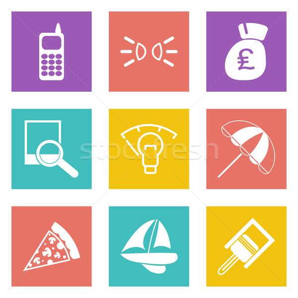 Cor ícones web design conjunto móvel aplicações Foto stock © smoki