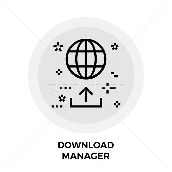 Téléchargement gestionnaire ligne icône vecteur isolé Photo stock © smoki