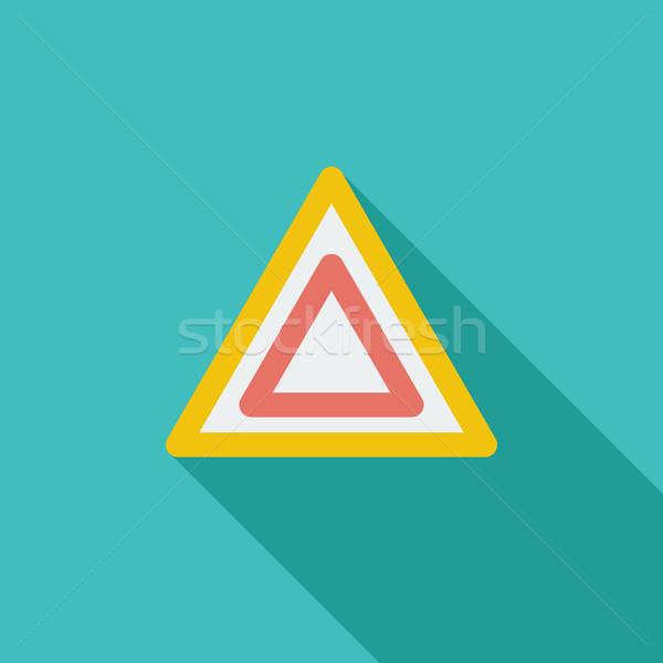 Hazard ikona wektora długo cień internetowych Zdjęcia stock © smoki