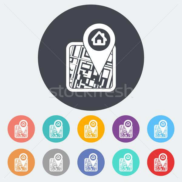 Gps kaart icon cirkel straat web Stockfoto © smoki