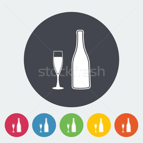 Stock photo: Wine flat icon