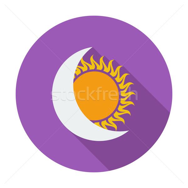 Nap fogyatkozás ikon szín földgömb nap Stock fotó © smoki