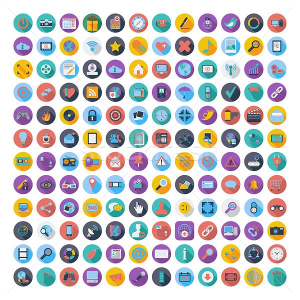 Social media and network color flat icons. Stock photo © smoki