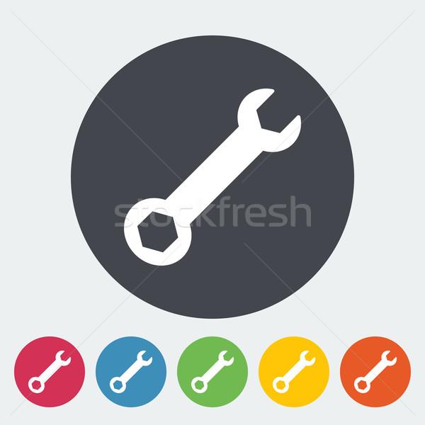 Stockfoto: Sleutel · icon · cirkel · ontwerp · kunst · Blauw