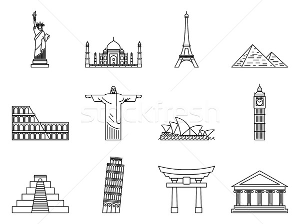 Landmark Icons set. Stock photo © smoki