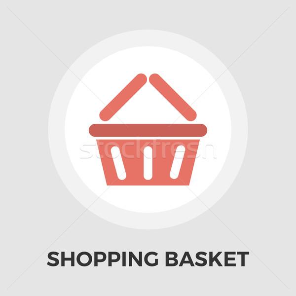 Bevásárlókosár ikon vektor izolált fehér szerkeszthető Stock fotó © smoki