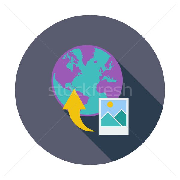 Feltöltés fotó szín ikon számítógép világ Stock fotó © smoki