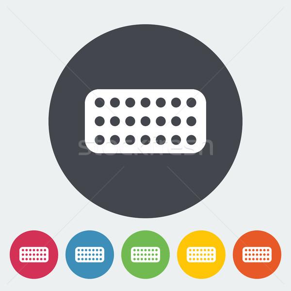 Fogamzásgátló tabletták ikon gomb orvosi művészet Stock fotó © smoki