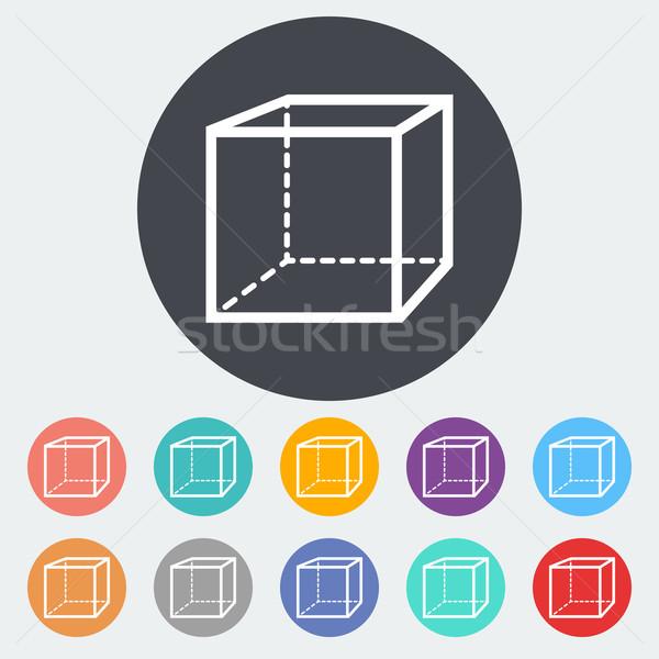 Meetkundig kubus icon cirkel onderwijs vak Stockfoto © smoki